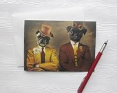 Pug Art Card Dog Card Stationery Animal Photography Pet Portrait Note Card Birthday Steampunk Canadian Seller - Steampug