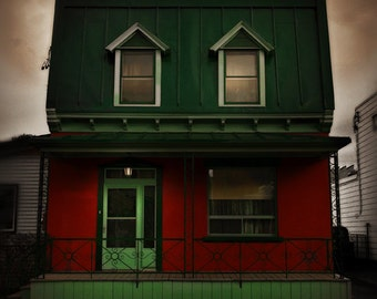 Montreal Art Architecture Photography Haunted House Lachine Red and Green Halloween Canadian Seller Fine Art Print - Home on Lachine