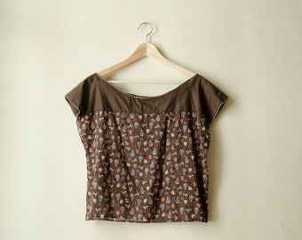 50% Off Sample Sale Dropped Shoulder Brown Top, Oversized Cotton Blouse, Bird and Cages Print