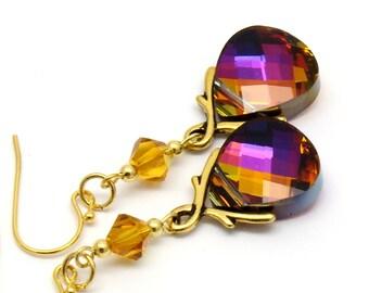 Purple Topaz Cobalt Earrings Swarovski Crystal 22 K Gold Plated Jewelry Peacock Purple Long Earrings Blue Plum Honey Jewelry