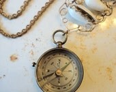 Antique Compass Necklace working Victorian gold fill Shell ...