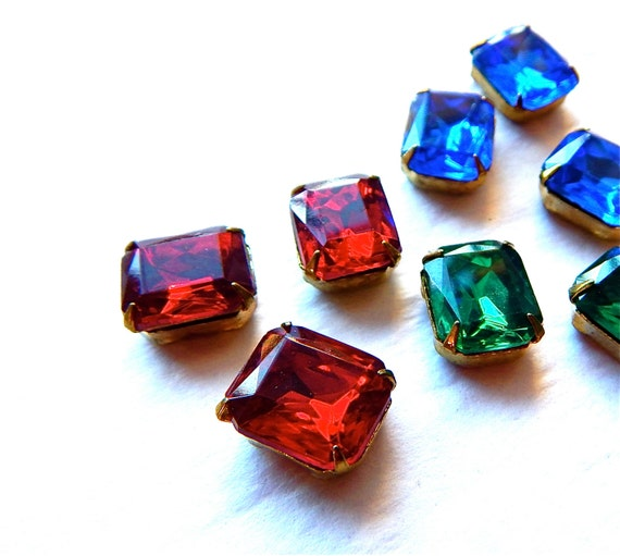 Vintage Octagonal Glass  Jewels In settings With 4 Holes For Stringing x 4