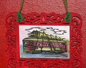 Nola Christmas Streetcar with tree framed wall art New Orleans
