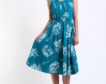 The Vintage Turquoise Aloha Hawaiian Print Tie Dress