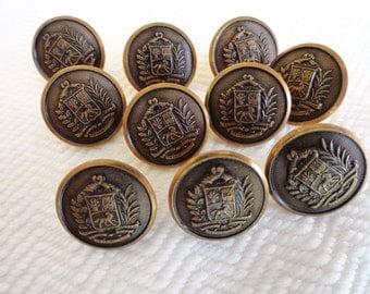 6 Antiqued Bronze Vintage Metal Blazer Buttons
