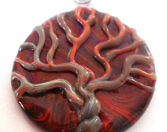 Placenta Tree of Life Birth Art Glass Necklace Pendant Midwife Jewelry