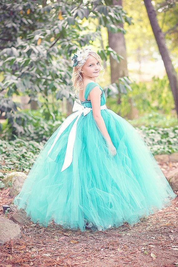 teal flower girl tutu dress