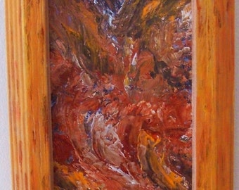 Brown Orange Red Abstract Earth Movement Framed Acrylic Painting SFA 4x6 on Canvas Panel