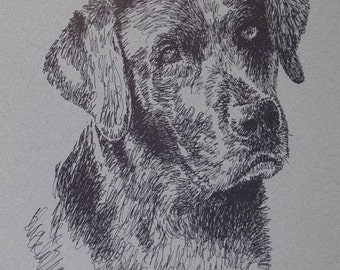 Black Labrador Retriever - Dog art portrait from words. Your dog's name added free. Great gift. Signed Kline 11X17 Lithograph 69/500