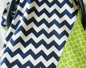 Baby Car Seat Cover Canopy for boy or girl lime green and navy blue chevron
