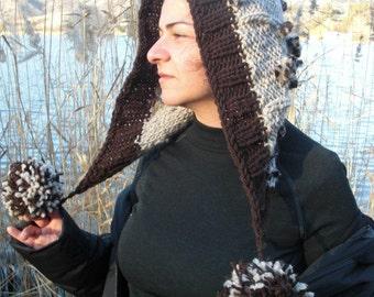 Knit Pom hat Womens Pom Pom Hat oversized knitting Boho Hat   Hood   Womens hat Winter Hat Gift for Her   Winter Accessories  Women  Fashion