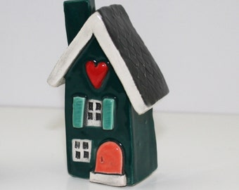 Little Clay House | Ceramic House | Miniature House | Whimsical house | Teal Green House | Clay House