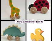 Any 2 of my Wooden toy Animals