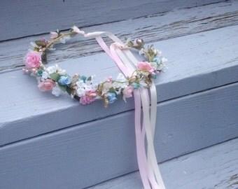 wedding hair accessories headwreath AmoreBride hair wreath woodland Bridal crown blue pink halo International ship artificial baby garland