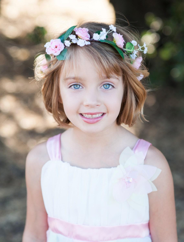 Flower girl Halo Pink Hair wreath fairy flower crown bridal