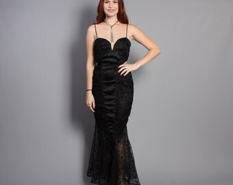 80s Black Widow PARTY DRESS / Bombshell Black Satin & Lace Mermaid Flared Gown, xs-s