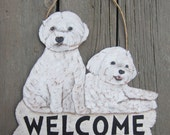 BICHON FRISE Welcome Sign - Hand Painted Custom