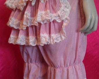 size UK  12   SALE candy stripe bustle bloomers pink white striped pantaloons burlesque lolita lingerie