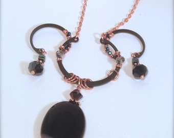 Elegant Steampunk Style  Purple and Black Quartz, Wire-Wrapped One of A Kind Necklace