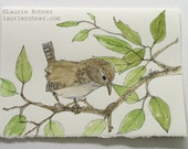 Bird Nature Art Watercolor Original Painting Illustration Wren on a Tree Limb One of a Kind Card