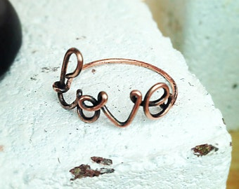 Love Reclaimed Copper Wire Ring