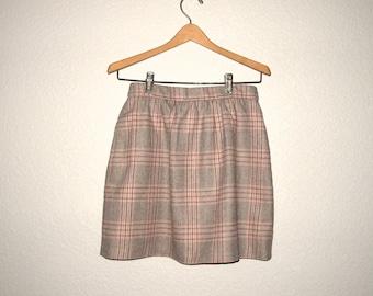 Vintage Skirt Pink Plaid, 80s Pink Gray Plaid Wool Blend Short Skirt, Upcycled RUSS Womans Size M, School Girl Mini Skirt 26 27 28 waist