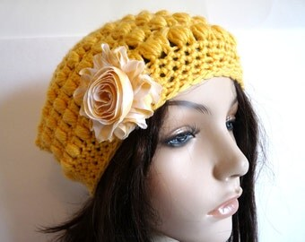Crochet Slouchy Hat in in Bright Yellow/Gold, Sized for Teens and Adults, Year Round Accessory