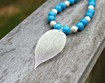 Silver Leaf Necklace, Blue Turquoise Necklace, Leaf Pendant, Country Chic, Nature Necklace by Mei Faith