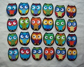6 Chubby Fabric Iron On Owl Appliqués