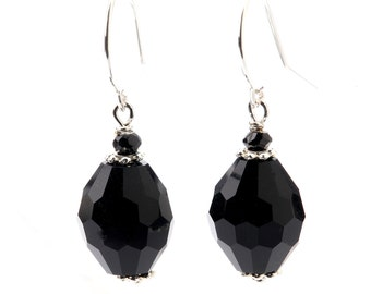 Black Onyx and Sterling Silver Dangling Earrings with Sterling Silver and Swarovski Bead Caps
