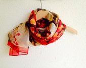 Red White Geometric Silk Shawl Neckwarmer Fabric Scarf Shawl