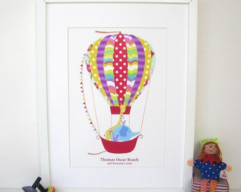 Nursery Wall Print - Personalised 'RAINBOW Hot Air Ballon' - new baby personalised print - christening gift - gift for boy - gift for girl