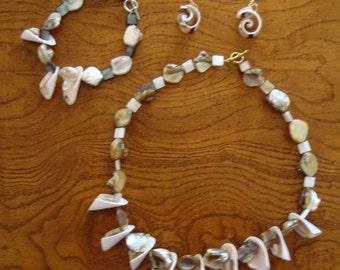 Eye of Shiva & Abalone Parure Jewelry Set of Bracelet Necklace Earrings