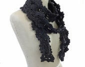 Queen Anne's Lace Skinny Scarf - Charcoal Grey Scarf - Hand Crocheted
