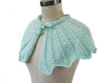 Mint Wedding Capelet - Hand Knit - Bridal Capelet
