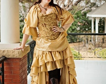 Belle Inspired Gold Fancy Chemise, Beauty and the Beast, Steampunk, Victorian, Renaissance, Medieval, Western, Peasant Blouse, Pirate, Fairy