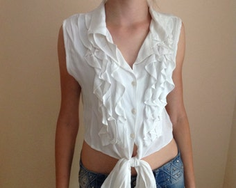 80s White Top Crop Top Blouse Sleeveless Ruffle Retro Pin Up Rockabilly Frill Front Tank