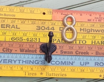 Recycled Ruler Coat Hook Wall Organization Yellow Blue Brass Metal Salvaged Wood