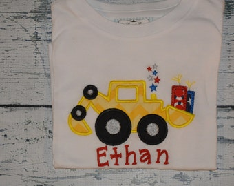 PERSONALIZED JULY 4th SHIRT or Bodysuit  Monogram Truck Digger