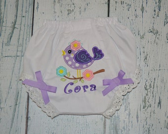 PERSONALIZED Bird Bloomers Diaper Cover Monogrammed baby Bloomer