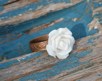 ROSE Ring White Flower Victorian Bridesmaid Gift Bohemian Vintage Wedding