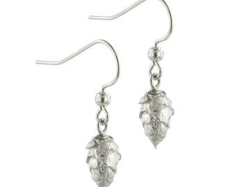 Tiny Silver Pine Cone Earrings