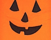 """Embroidered Iron On Applique """"Pumpkin Face"""""""