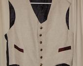 Man's Repro 19c Victorian Vest Waistcoat Sz L Accurate, Linen, Metal Buttons New