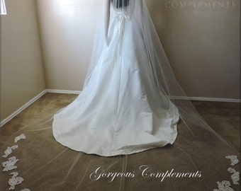 Jenney Veil Cathedral Drop with French Lace Appliques, Bridal Veil, Wedding Veil