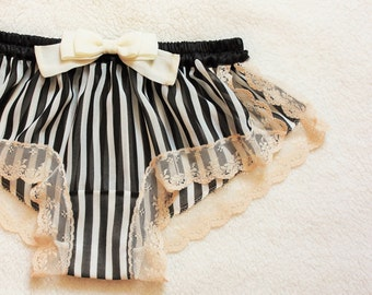 Stripe Chiffon Sleep Boxer/style NINGYO (made to order)