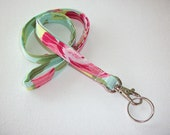 Lanyard  ID Badge Holder - NEW THINNER design - tumble roses - Lobster clasp and key ring coworker gift