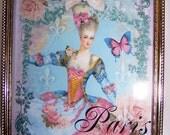 Vintage Frame, Marie Antoinette, French, Paris, Pink, Home Decor, Picture Frame, Digital Artwork, Bedroom Decor, Wall Decor, Wall Hanging