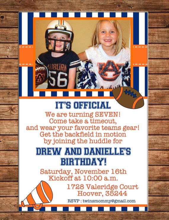 Girl OR Boy Football Cheerleader Tailgate Party Birthday Photo Invitation - DIGITAL FILE