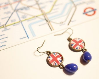 Union Jack earrings, red, blue, Boho, Hippie, UK, British flag, bronze, Brit Pop, Indie, Au pair, London